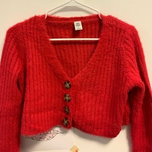 Urban outfitters red fuzzy cropped sweater